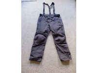 Motorcycle Trousers - BLACK - Size XL - with braces and liner - AS NEW!