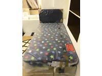 Airsprung Kids Stars Single Storage Divan with plain blue headboard & Free Snakes & Ladders Rug.