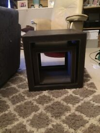 2 Small brown faux leather cubes/side tables