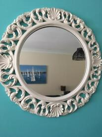 Lovely white round ornate mirror. Collect darlington.