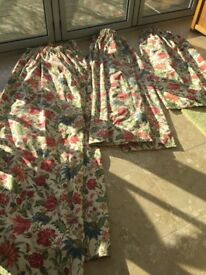 3 x pairs of lined Laura Ashley curtains.