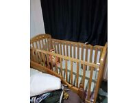 baby cot with height adjustable with mattress for free