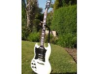 "Left Hand "" Vintage"" Gibson SG copy in white. In immaculate condition left handed."