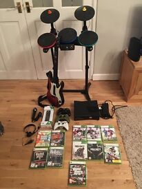 Xbox 360 Console 250gb With Full Guitar Hero (Rock Band) Plus Games
