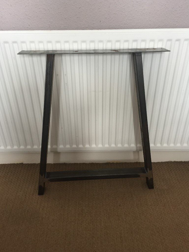 Set of 2 professionally made a frame metal table legs brand new