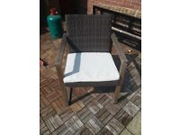Solid wood garden table & 4 rattan chair set