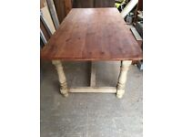 DINING TABLE RUSTIC FRENCH FARMHOUSE COUNTRY STYLE SOLID PINE PAINTED 76CM H 180 L 92 W SANDED TOP