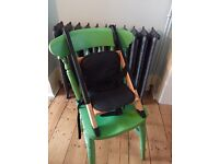 Handysitt child/baby/toddler booster seat, high chair, portable. Wood & leather