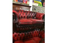 Wanted leather chesterfield sofas / three piece suite and chairs
