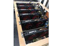 NEW Mining Rig ETH/ETC/XMR/ZCash Crypto Mining Rig 6x XFX RX580 8GB 180MHs /900W