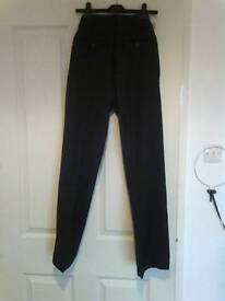 New ladies kids boys black work school trousers size 6/8 24/26 waist 28 - 32 leg