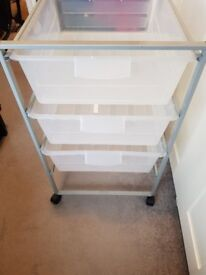 Storage trolley removable clear storage boxes ideal beautician hairdresser etc