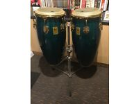 Toca limited edition congas with carrying cases and stand