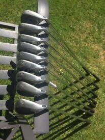 Used Golf Clubs, 2 bags and unused Electric Golf Trolley