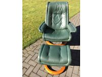Stressless chair and footstool in racing green