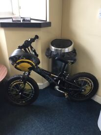 Batman bike with Batman helmet and bell. Excellent condition