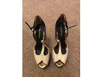 Miss Selfridge black/nude/gold high heels