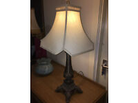 Striking Vintage Ornately Carved Dark Bronze Heavy Table Lamp with Cream Shade