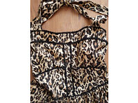 LEOPARD PRINT COTTON HALTER DRESS, WITH UNDERSKIRT ATTACHED, ATMOSPHERE, SIZE 16