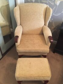 Solid cream & wooden chair with matching footstool.