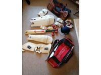 Cricket joblot bat, bags, pads, helmet