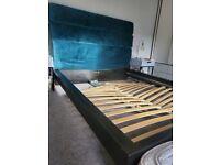 Queen bed frame with DIY headboard