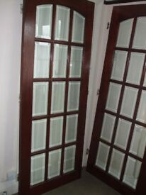 Solid Oak Framed French Doors (interior) with 15 bevelled glazed panels, heavy.