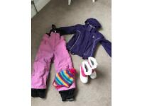 Girls age 5/6 ski trousers, jackets and snow boots