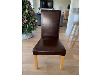 4 x Oak Furniture Land Dining Chairs Brown Leather & Oak
