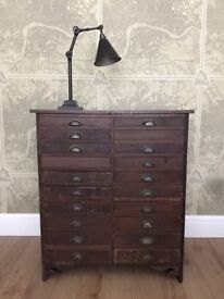 Watchmakers Haberdashery Apothecary Chest Of Drawers Engineers Vintage Industrial Antique Factory