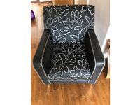 Black and silver accent chair