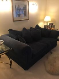 Navy blue sofa and arm chair