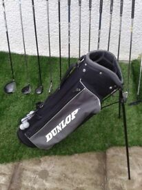 *** FULL SET GOLF CLUBS + BRAND NEW DUNLOP GOLF BAG WITH STAND + GOLF BALLS + TEES +++++ EXTRAS ***