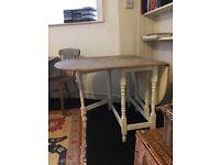 Large wooden gate leg table, vintage