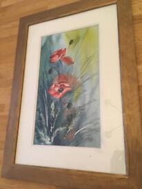 Poppy framed watercolour picture
