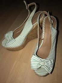 Green Stripped Wedged heels Size 6/39