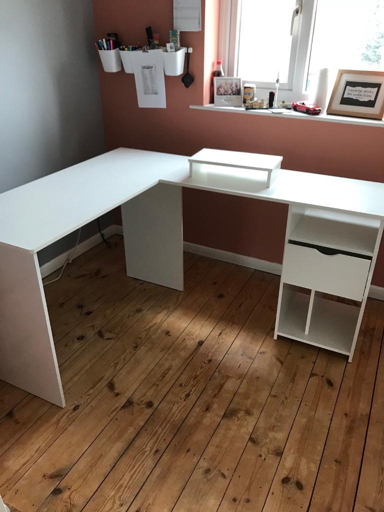 Shaped Office Computer Desk Large Corner Table