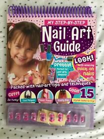 Nail Art Guide book and stick on nails - BRAND NEW