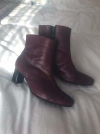 Burgundy ankle boots. Size 7