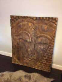 Large wooden Buddha wall picture
