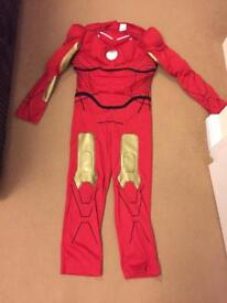 Iron man suit age 8-11 years with gloves and iron man figure