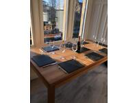 Solid oak dinning table and 6 matching chairs-REDUCED