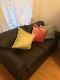 3 two seater brown leather ikea sofas
