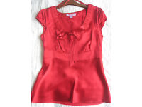 Red Satin Monsoon Bow Top - Size 8 Petite Brand New (without tags)