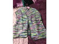 Warm winter gillet cardigan wool style mix blend top medium M Pink Green Grey Purple