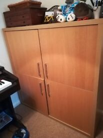 Marks & Spencer 4 door solid wooden cabinet / bookcase / shelves (a set of 2 to sell)