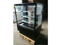 Horizontal cake display fridge double slides doors