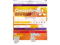 X2 Creamfields 2day GOLD camping tickets 27&28th Aug 2016