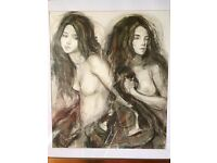 "Sheldon Schoneberg Pring ""Diane"" Lithograph Charcoal with Pastel"