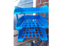 Blue plastic 3-tier letter trays with risers